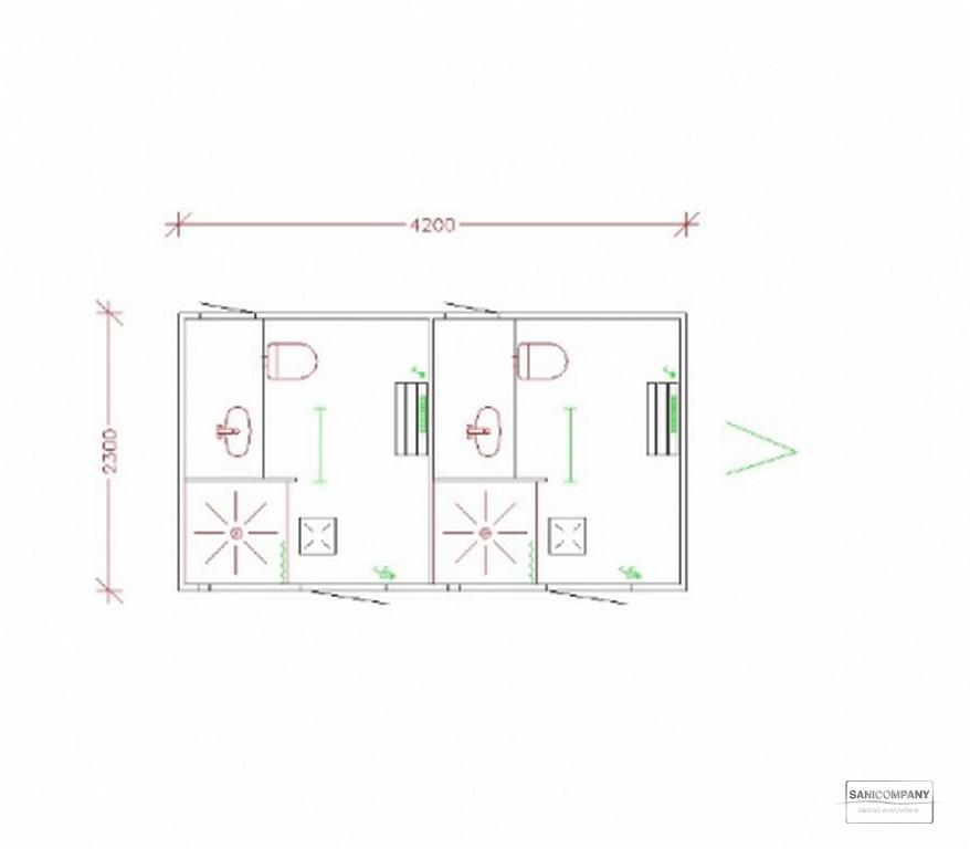 Dubbele mobiele badkamer met 2 afgescheiden en apart afsluitbare ruimten met beide o.a. een douche met mengkraan, toilet met wastafel, verwarming en kleedruimte met kledinghaken en een bankje.
